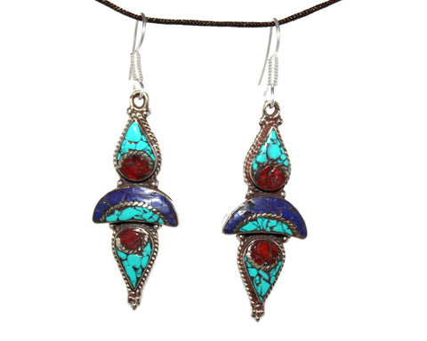 Dropping Turquoise Earrings - Yaslai - 1