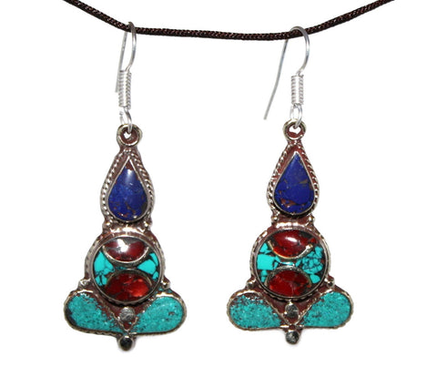 Turquoise Meditating Pose Earrings - Yaslai - 1