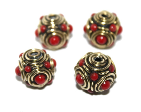 Coral Brass Beads - Yaslai - 1