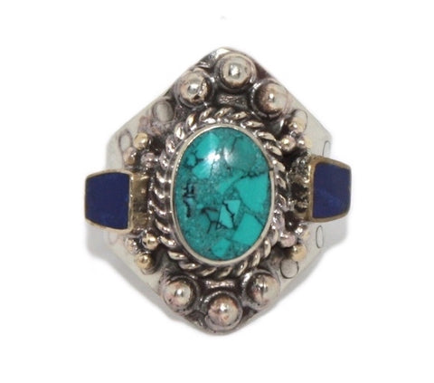 Adjustable Lapis Turquoise ring - Yaslai - 1