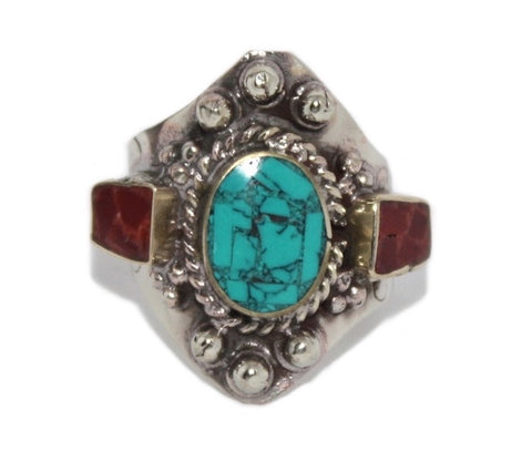 Adjustable Turquoise Coral ring - Yaslai - 1