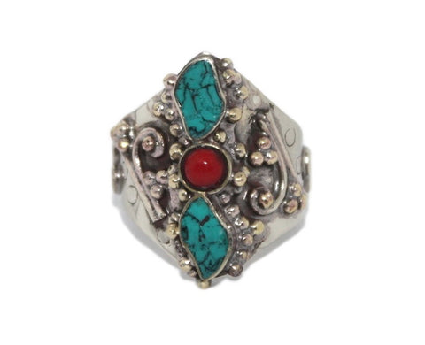 boho Adjustable Turquoise Coral ring - Yaslai - 1