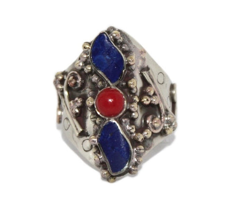 Boho Adjustable Lapis Coral ring - Yaslai - 1