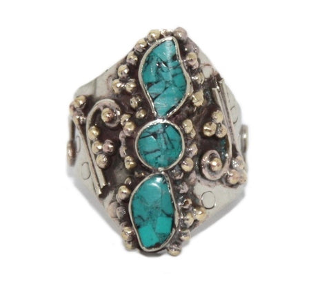 Boho Adjustable Turquoise ring - Yaslai - 1