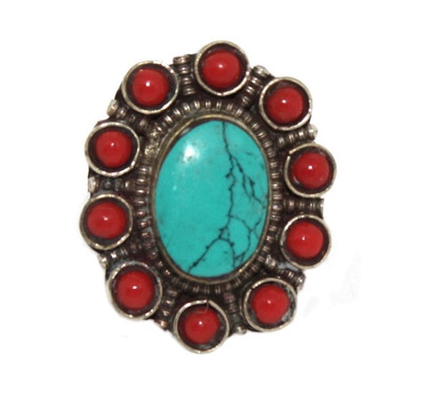 Oval Coral Turquoise ring - Yaslai - 1