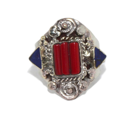 Coral Ring Lapis Adjustable ring