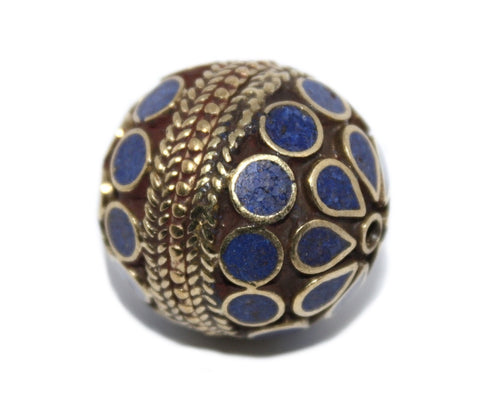Lapis Beads Tribal beads Tibetan beads Nepal beads Brass Beads Ethnic Beads B282