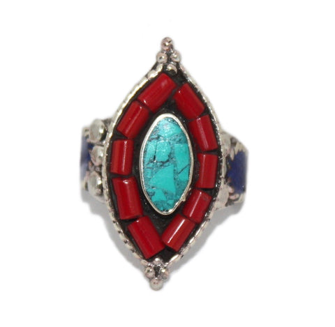Turquoise ring Coral Lapis Adjustable ring