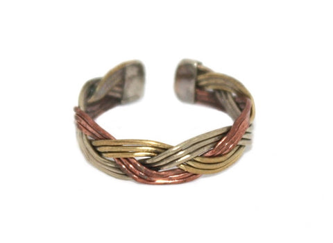Brass Copper Ring, Adjustable Ring, medicinal healing ring - Yaslai - 1