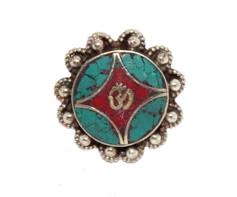 Om Coral Ring, Turquoise ring - Yaslai - 1