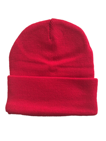 Red Foldable Cuff Beanie Hat 21