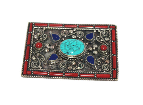 Statement Silver Turquoise Belt Buckle - Yaslai - 1