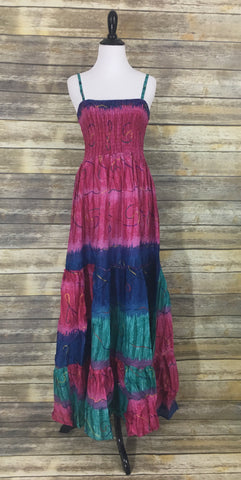 Pink blue tie dye maxi dress