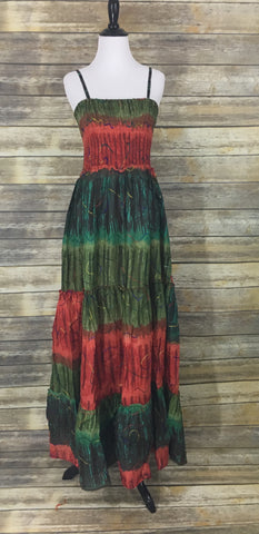 Orange green tie dye maxi dress