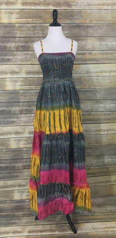 Gray yellow pink tie dye maxi dress