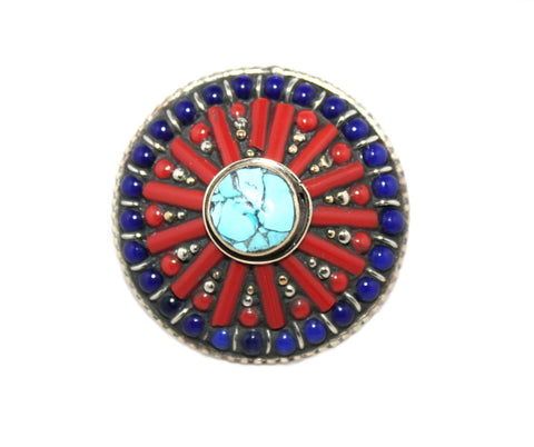 Adjustable Round Lapis ring - Yaslai - 1