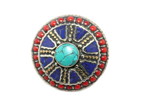 Large Adjustable Round Lapis ring - Yaslai - 1