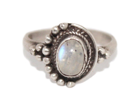 925 Sterling Silver Ring Rainbow moonstone Ring - Yaslai - 1