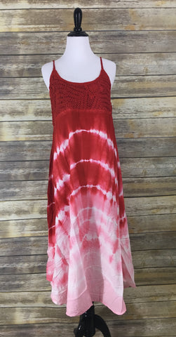 Red tie dye dress