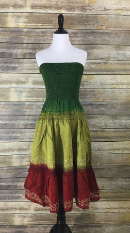 Green Red Strapless Dress