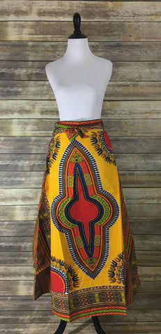 Yellow Dashiki Wrap Skirt