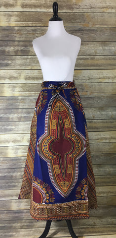 Blue Dashiki Wrap Skirt