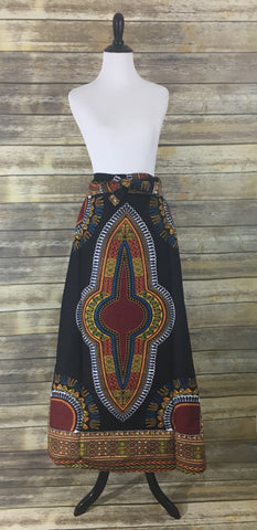 Black Dashiki Wrap Skirt