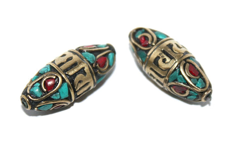 Brass turquoise coral Beads - Yaslai - 1