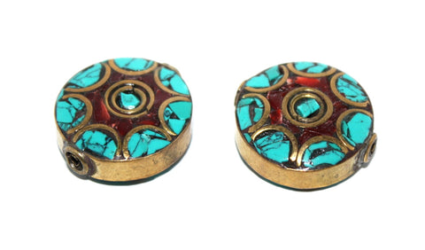 coral brass turquoise Beads - Yaslai - 1