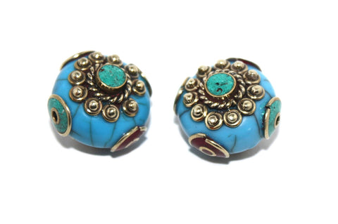 turquoise coral beads - Yaslai - 1