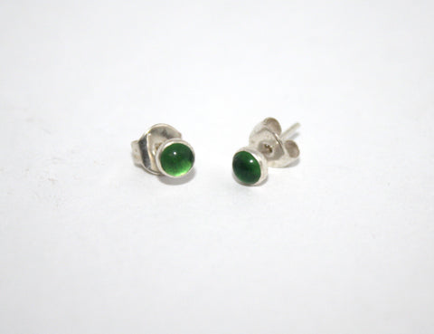 Sterling Silver Earrings, Stud Earring, Green Quartz Earring - Yaslai - 1