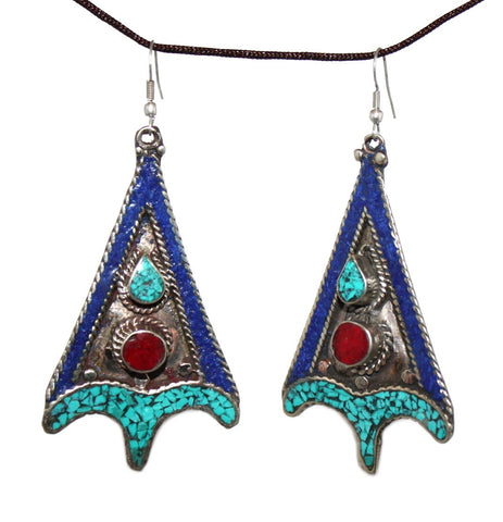 Lapis Coral turquoise Earring - Yaslai - 1