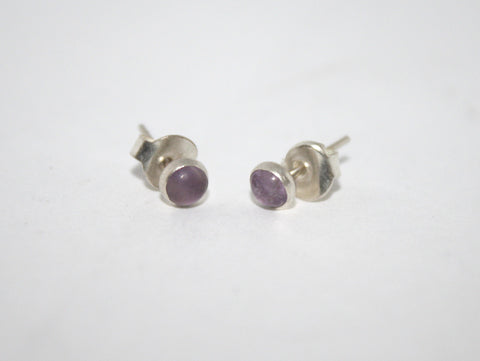 Sterling Silver Earrings, Stud Earring, Amethyst Earring - Yaslai - 1