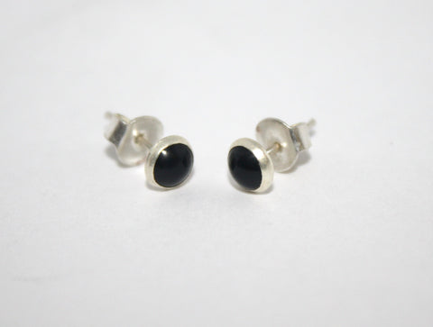 Sterling Silver Earrings, Stud Earring, Onyx Earring - Yaslai - 1
