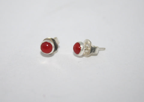 Sterling Silver Earrings, Stud Earring, Coral Earring - Yaslai - 1
