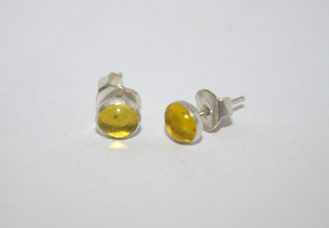 Sterling Silver Earrings, Stud Earrings, Lemon Quartz Earrings, Tribal Earrings - Yaslai - 1