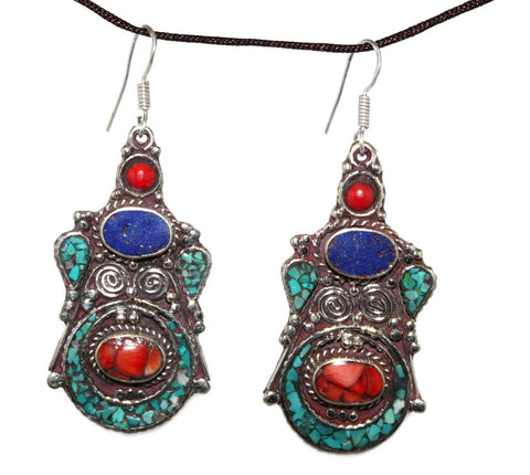 Lapis Turquoise coral Earring - Yaslai - 1