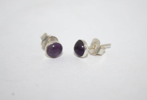 Sterling Silver Earrings, Stud Earrings, Amethyst Earrings, Gypsy Earrings - Yaslai - 1