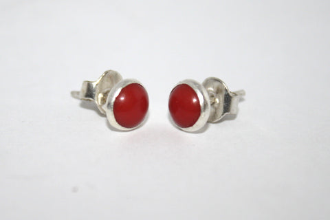 Sterling Silver Earrings, Stud Earrings, Coral Earrings, Gypsy Earrings - Yaslai - 1