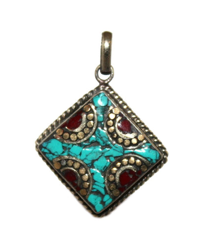turquoise coral pendant - Yaslai - 1