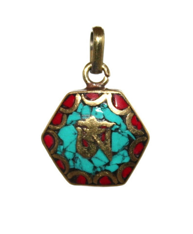 turquoise coral om pendant - Yaslai - 1