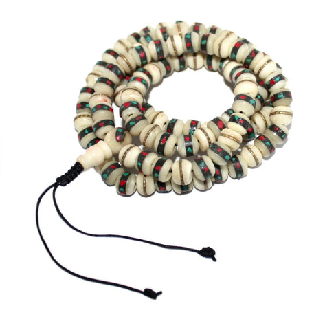 White Yak Bone meditation prayer beads - Yaslai - 1