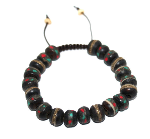 Full Black Yak bone Adjustable wrist mala - Yaslai - 1
