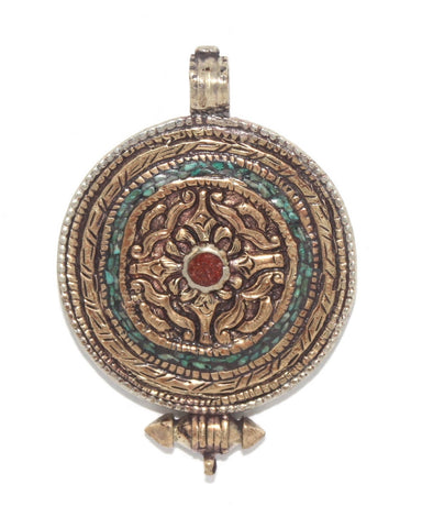 Brass Coral Turquoise Pendant - Yaslai - 1