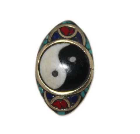 Adjustable Ring Turquoise Ring Ying Yang Ring Handmade Ring Tibetan Ring Gypsy Ring Tribal Ring RB263