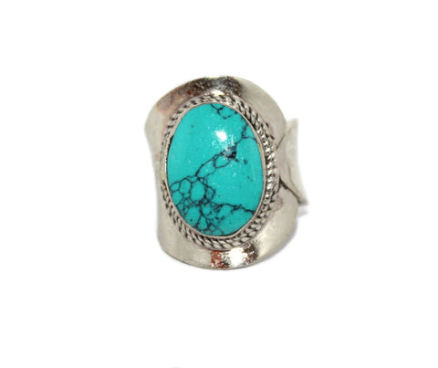 Adjustable tibetan Turquoise ring - Yaslai - 1