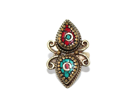 Butterfly Tibetan coral ring - Yaslai - 1