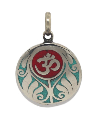 Red Om Coral Turquoise Pendant - Yaslai - 1