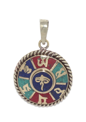 Eyes Of Compassion Lapis Turquoise coral Pendant - Yaslai - 1