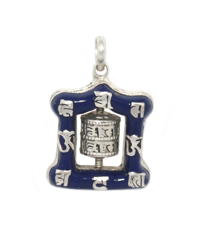 Yoga Prayer wheel Lapis Pendant - Yaslai - 1
